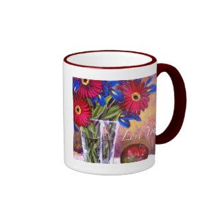 Daisy Iris Flowers Vase Painting Art - Multi Mug
