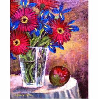 Daisy Iris Flowers Vase Still Life Art - Multi Cutout