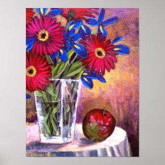 Daisy Iris Flowers Vase Still Life Art - Multi Posters
