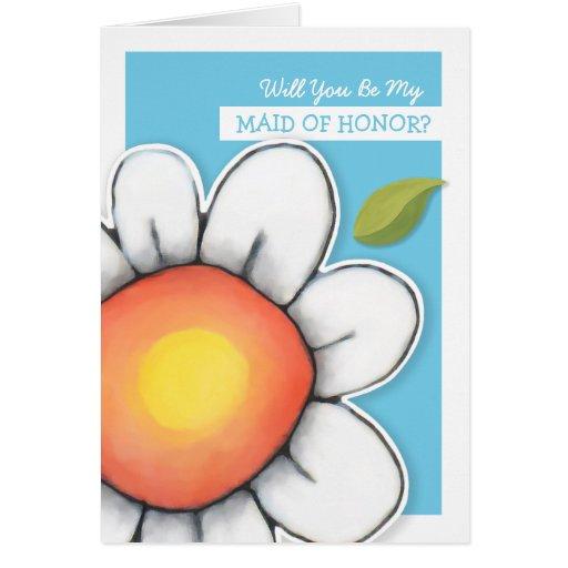 Daisy Joy blue Be My Maid of Honor Card