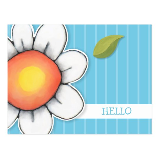 Daisy Joy blue Hello Postcard