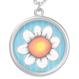 Daisy Joy blue Large Round Silver Plated Necklace