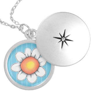 Daisy Joy blue Silver Plated Locket Necklace