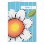 Daisy Joy blue stripes Merci Note Card
