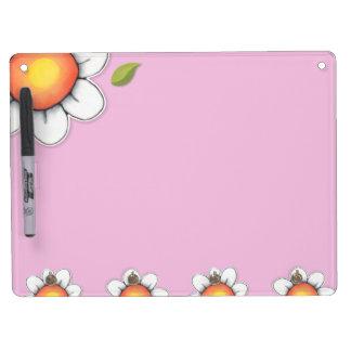 "Daisy Joy pink Dry Erase Board Key Hooks 9"" x 12"""