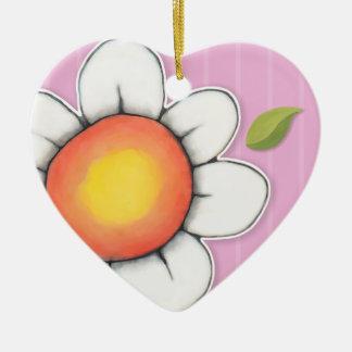 Daisy Joy pink Heart Ornament