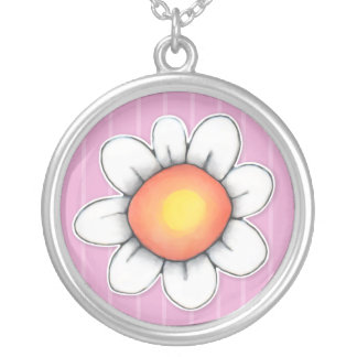 Daisy Joy pink Large Round Silver Plated Necklace