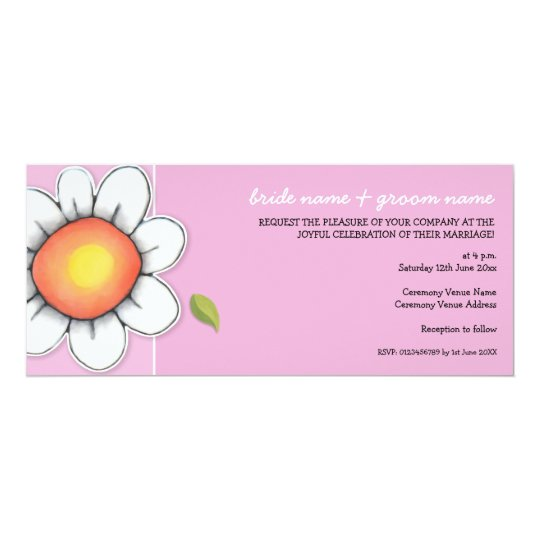 Daisy Joy pink Long Wedding Invitation