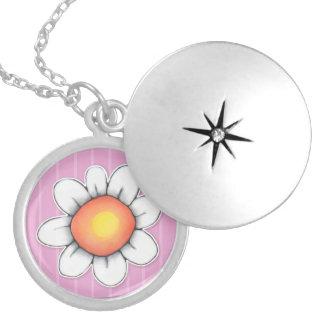Daisy Joy pink Silver Plated Locket Necklace