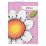 Daisy Joy pink stripes Merci Note Card