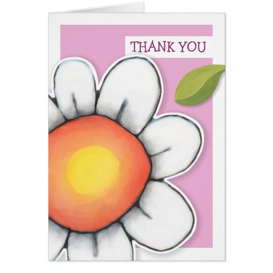 Daisy Joy pink Thank You Note Card