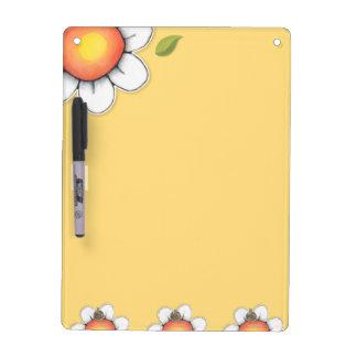 "Daisy Joy yellow Dry Erase Board Key Hooks 12""x9"""
