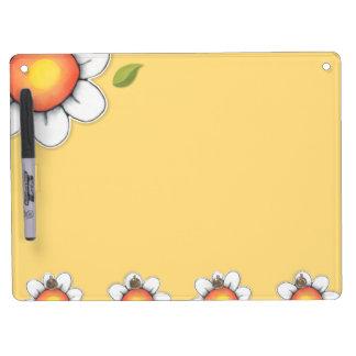 "Daisy Joy yellow Dry Erase Board Key Hooks 9""x12"""