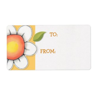 Daisy Joy yellow Gift Tag Sticker Custom Shipping Labels