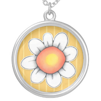 Daisy Joy yellow Lge Round Silver Plated Necklace