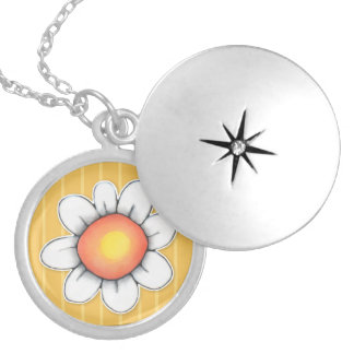 Daisy Joy yellow Silver Plated Locket Necklace