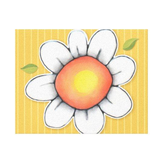 Daisy Joy yellow Stretched Canvas Print