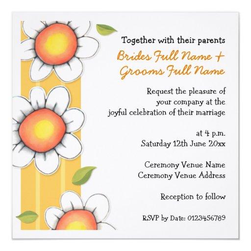 Daisy Joy yellow stripe Daisies Wedding Invitation