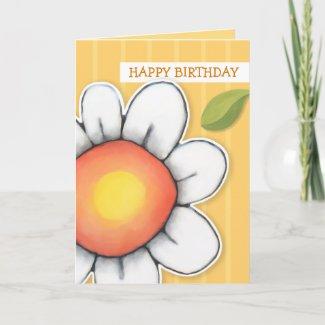 Daisy Joy yellow stripes Birthday Card