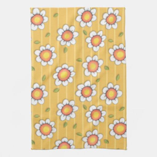 Daisy Joy yellow stripes Kitchen Towel