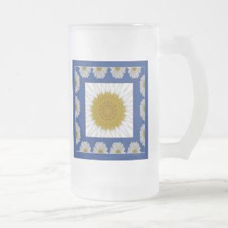 Daisy Kaleidoscope in blue frame Frosted Glass Beer Mug