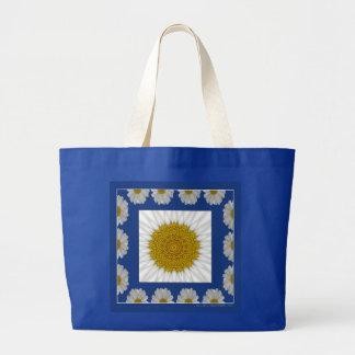 daisy Kaleidoscope in blue frame Jumbo Tote Bag