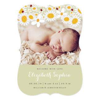 Daisy & Ladybug Baby Girl Photo Birth Announcement