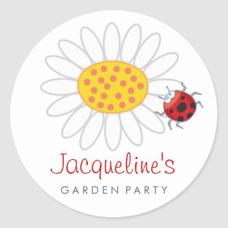 Daisy & Ladybug Gift Party Favors Label Sticker