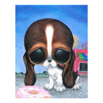 sugar, fueled, michael, banks, pity, puppy, dog, basset, hound, cute, creepy, adorable, snuggly, animal, donut, sprinkles, sweet, shop, sweets, candy, lowbrow, pop, surrealism, Papel de cartas com design gráfico personalizado