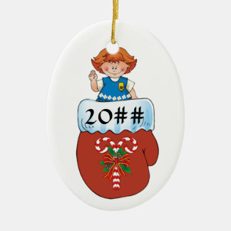 Daisy Mitten Redhead Ceramic Ornament