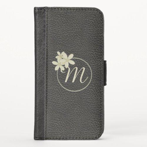 Daisy Monogram Black Leather Vegan Phone Case
