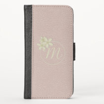 Daisy Monogram Blush Vegan Leather Rose Gold iPhone X Wallet Case