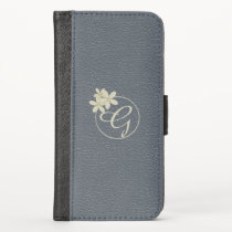 Daisy Monogram Vegan Leather iPhone XS Wallet Case