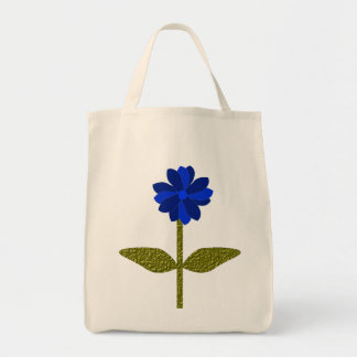 Daisy Ocean Blue Organic Grocery Tote Bag