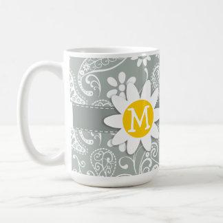 Daisy on Ash Gray; Grey Paisley Classic White Coffee Mug