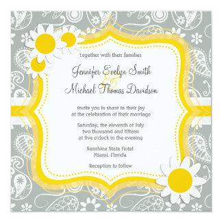 """Daisy on Ash Gray; Grey Paisley 5.25"""" Square Invitation Card"""