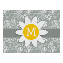 Daisy on Ash Gray; Grey Paisley Poster