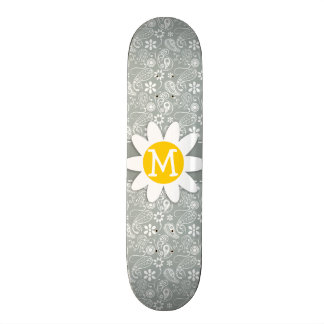 Daisy on Ash Gray; Grey Paisley Skateboard Deck