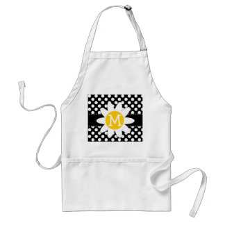 Daisy on Black and White Polka Dots Adult Apron