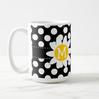 Daisy on Black and White Polka Dots Coffee Mug