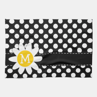 Daisy on Black and White Polka Dots Kitchen Towels