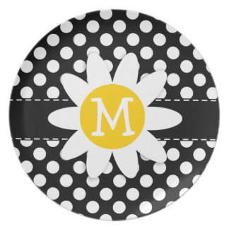 Daisy on Black and White Polka Dots Plate