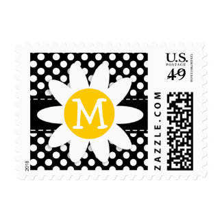 Daisy on Black and White Polka Dots Postage