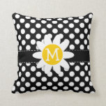 Daisy on Black and White Polka Dots Throw Pillow