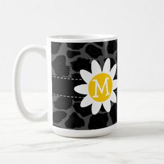 Daisy on Black Leopard Animal Print Coffee Mug