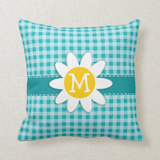 Daisy on Blue-Green Gingham Throw Pillow