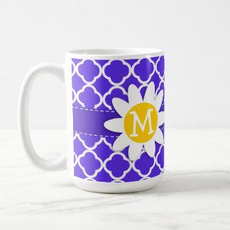 Daisy on Blue Violet Quatrefoil Coffee Mug