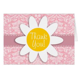 Daisy on Bubble Gum Pink Damask Pattern Card