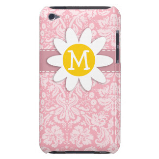 Daisy on Bubble Gum Pink Damask Pattern iPod Touch Cases