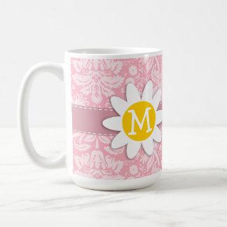 Daisy on Bubble Gum Pink Damask Pattern Coffee Mug